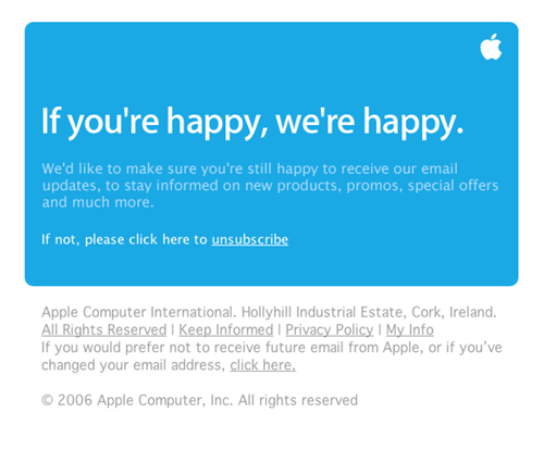 Apple Email Newsletter: Apple Ireland Email Subscription Update 2006