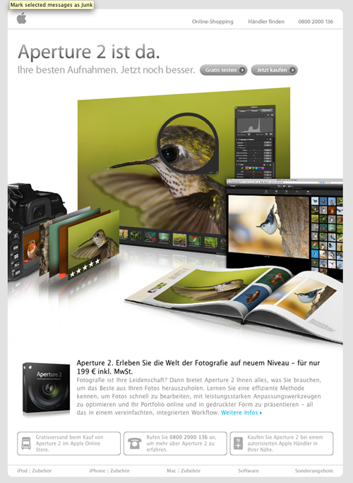 Apple Email Newsletter: Aperture (German)