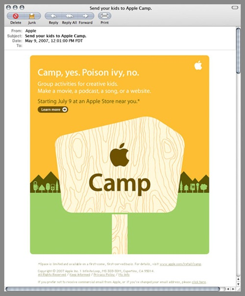 Apple Email Newsletter: Send Your Kids to Apple Camp 2007