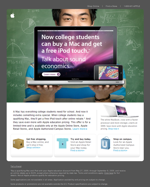Apple Email Newsletter: Back to School 2009
