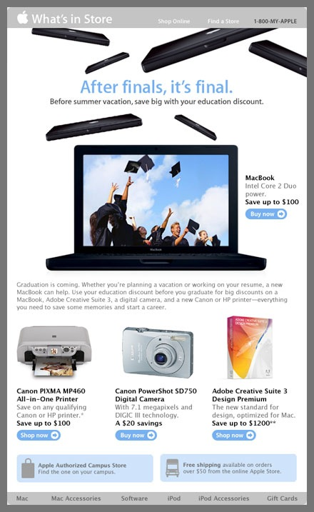 Apple Email Newsletter: Graduation Day