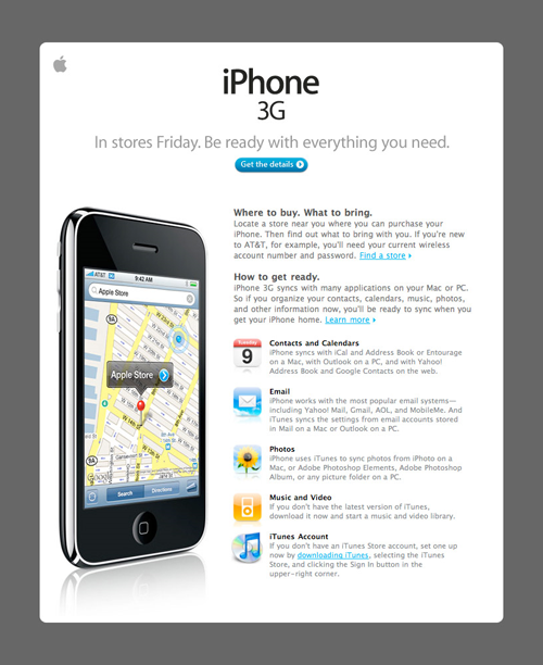 Apple Email Newsletter: iPhone 3G