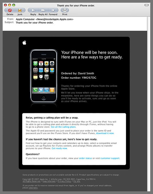 Apple Email Newsletter: iPhone 3G confirmation email
