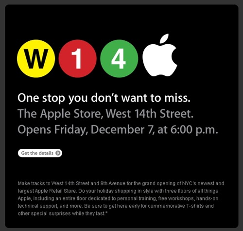 Apple Email Newsletter: Apple Store Opening - West 14th Street