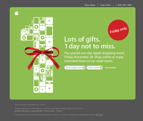 Apple Email Newsletter: Black Friday 2008