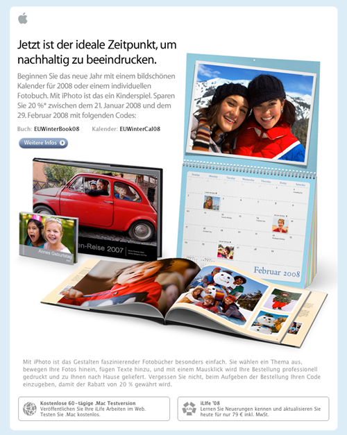 Apple Email Newsletter: iPhoto Winter Calendar (German)