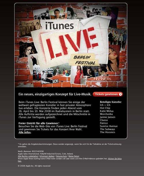 Apple Email Newsletter: iTunes Live Berlin Festival