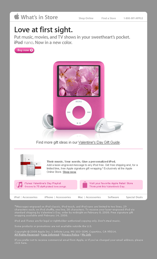 Apple Email Newsletter: Valentine's Day 2008