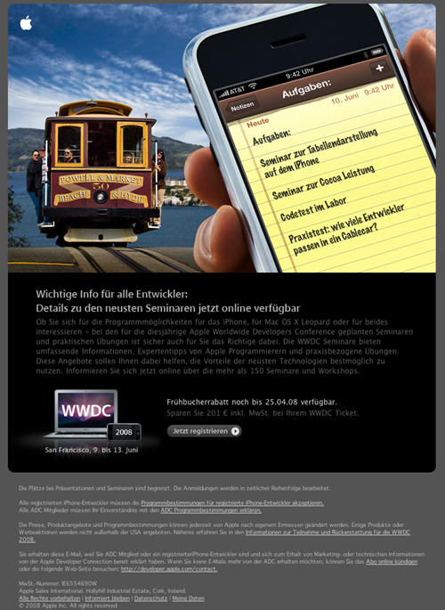 Apple Email Newsletter: Apple WWDC 2008